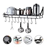 Hanging Pan Rack, 35inch Heavy Duty Wall Mounted Sauce Bottle Pan Pot Organizer Display Storage Holder with 10 Hooks