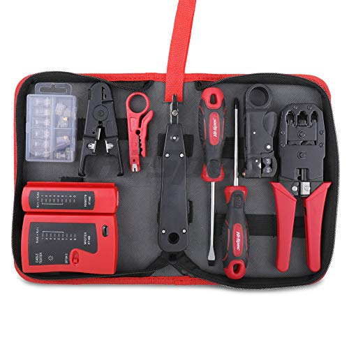 Hi-Spec 9 Piece Network Cable Testing & Wiring Repair Tool Kit. Remote LED Continuity Test Box, Screwdrivers, Cutters & Strippers, Crimper & Krone Punch Down Tool in a Zipper Case (Tamaño: 9 LEDs (GND))