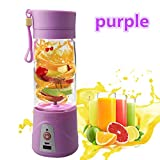 JTT Portable Blender USB Juicer Cup, Multifunction 380ML Mini Juice Blender Smoothie Maker Blender Drink Bottle (PURPLE)