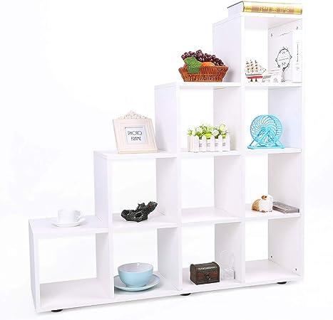 Librería de Madera con 10 Compartimentos Estantería para Libros Estantería en Forma de Escalera Estante de Exhibición Estanterías de Cubos para Sala de Estar y Dormitorio, 114 × 30 × 116 cm (Blanco): Amazon.es: Hogar