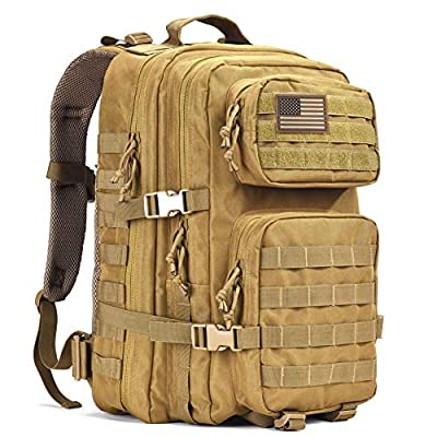 REEBOW GEAR Military Tactical Backpack, Large Army 3 Day Assault Pack Molle Bug Out Bag Backpacks Khaki by REEBOW GEAR
