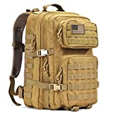 REEBOW GEAR Military Tactical Backpack, Large Army 3 Day Assault Pack Molle Bug Out Bag Backpacks Khaki