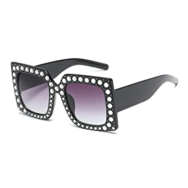 405950b776de MINCL Square Diamond Rhinestone Sunglasses Novelty Oversized Celebrity  Shades UV400 (black)  Amazon.co.uk  Clothing