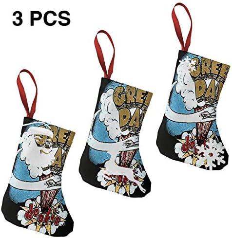 クリスマスの日の靴下 (ソックス3個)クリスマスデコレーションソックス グリーン デイGreen Day クリスマス、ハロウィン 家庭用、ショッピングモール用、お祝いの雰囲気を加える 人気を高める、販売、プロモーション、年次式
