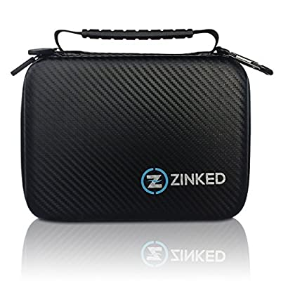 Zinked Carrying Case for Gopro Hero 4/3+/3/2/1 and Accessories - Carbon Fiber Travel & Household Case with EVA Foam Interior WaterResistant Perfect Protection for Your Camera or iPad Mini Black