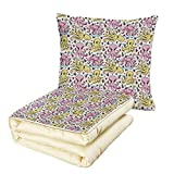 iPrint Quilt Dual-Use Pillow Octopus Cartoon Style Sea Life Animal and Plant Pattern Aquatic Scene Creatures Decorative Multifunctional Air-Conditioning Quilt Pink Yellow Pale Blue