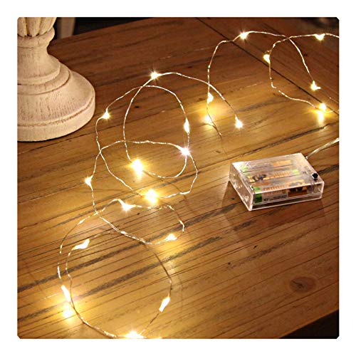 (Sanniu Led String Lights, Mini Battery Powered Copper Wire Starry Fairy Lights, Battery Operated Lights for Bedroom, Christmas, Parties, Wedding, Centerpiece, Decoration (5m/16ft Warm White) )