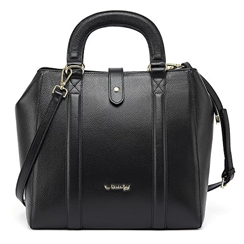 Utotebag Women Top Hanlde Bag Genuine Leather Tote Bag Large Capacity Elegant Purse Handbag Shoulder Bag (Black)