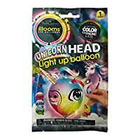 Illooms Unicorn Head Light Up Balloon! Up To 15 Hours Of Color Changing Led! Comes With Stick On Par