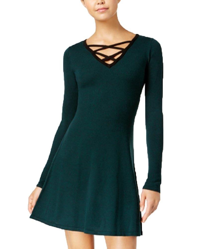 9d79b56acb Amazon.com  BCX Juniors  Contrast Lace-up Sweater Dress  Clothing