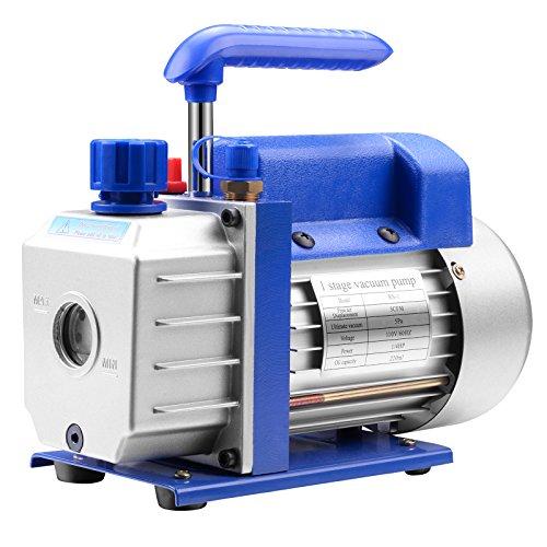 - SUNCOO 3CFM Vacuum Pump HVAC Single Stage Rotary Vane Deep Electric 110V AC Refrigerant Charge 1/4HP, Blue