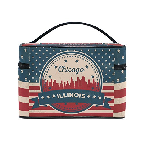 Vintage American Flag Illinois State Chicago Skyline Cosmetic Bags Travel Makeup Toiletry Organizer Case
