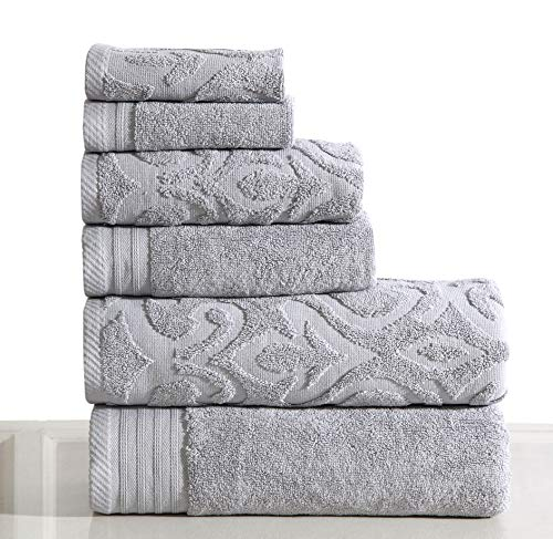 Wicker Park 600 GSM Ultra Soft Luxurious 6-Piece Towel Set (Platinum): 2 Bath Towels, 2 Hand Towels, 2 Washcloths, Long-Staple Combed Cotton, Spa Hotel Quality, Super Absorbent, Machine Washable