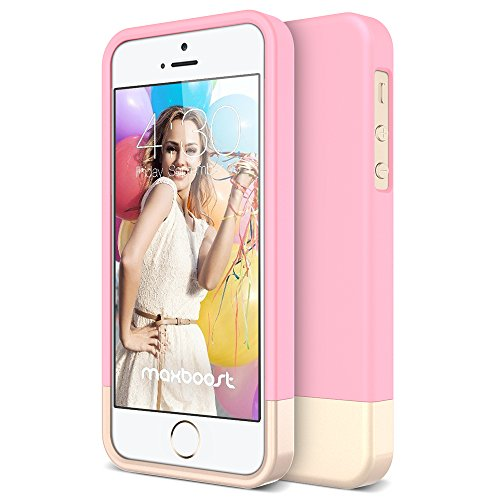 iPhone 5S Case, Maxboost [Vibrance Series] for Apple iPhone 5S / 5 Case Protective Soft-Interior Slider Style Hard Cases Cover - Cherry Blossom/Champagne Gold