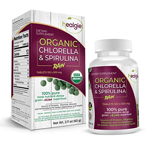 (Spirulina Chlorella USDA Organic Raw Vegan (120 Tablets - 60000 mg) Highly Digestible Anti-Aging Pure Micro Algae Superfood Best for Chlorophyll, Protein, Heavy Metal Detox - Patented Broken Cell Wall )