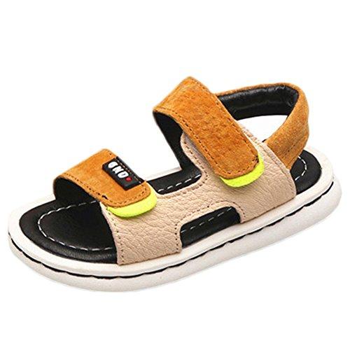 Scothen Playa de verano cerrado sandalias zapatos para caminar al aire libre ultraligero calzado transpirable plana unisex niños muchachas ocio zapatos de trekking para caminar/sandalias de la mitad Yellow