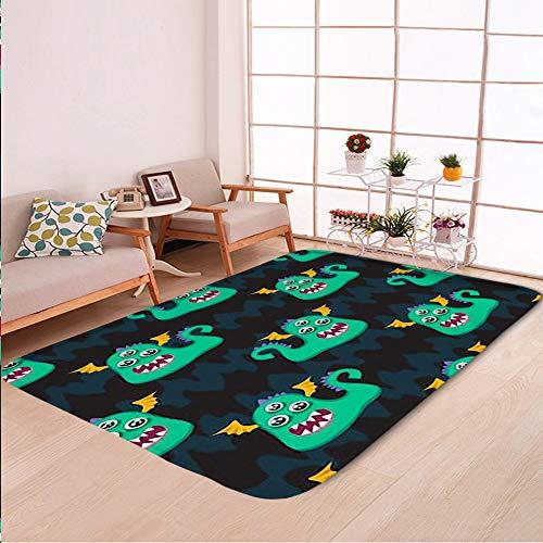 Home Decor Bathroom WC Rug Living Room Carpets Door Mat Indoor Rugs,Abstract Seamless Halloween Pattern Girls,Bedroom Floor Mats -