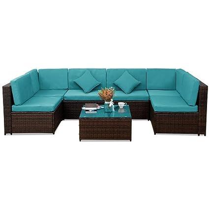 Amazon.com: Lovinland - Juego de muebles de patio de 7 ...