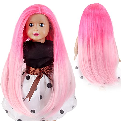 STfantasy American Girl Doll Wigs Ombre Pink Long Straight Hairpiece for 11