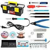 YaeTek Soldering Iron Kit Electronics, 19in1, 60W Adjustable Temperature Soldering Iron On-off Switch, 5pcs Soldering Iron Tips, Solder, Rosin, Solder Wick, Stand and Other Soldering Kits in Portable