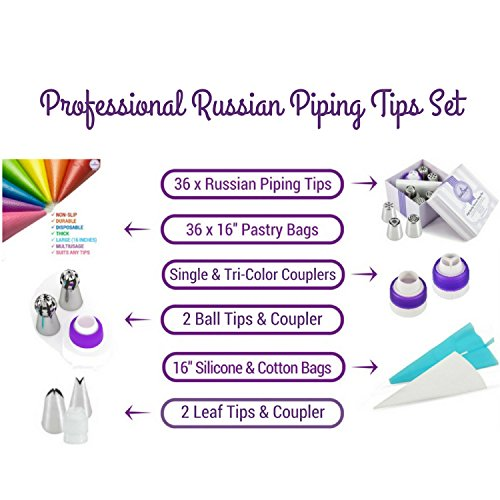 Russian Piping Tips Set - 82 pcs Cake Cupcake Decorating Supplies Kit - 40 Icing Frosting Nozzles (2 Ball and 2 Leaf Tips) - 4 Couplers - 36 Baking Pastry Bags - Silicone Bag - Cotton Bag - Gift Box