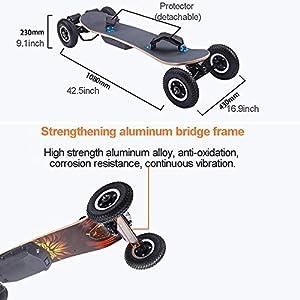 WOTR Off Road Skateboard électrique, 1650W motorisé Montagne Longboard avec Dual Motors – Tout-Terrain, 4 Roues, Vitesse 40 km/h, Conseil à Grande Vitesse contrôlée à Distance