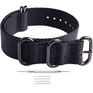 Ritche 18mm Black NATO Strap with Black Heavy Buckle Compatible with Timex Weekender Watch Band