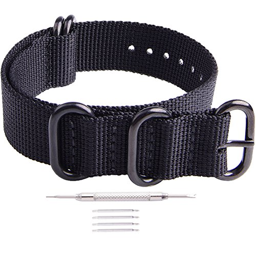 (Ritche 22mm Black NATO Strap with Black Heavy Buckle Compatible with Timex Weekender Watch Band)