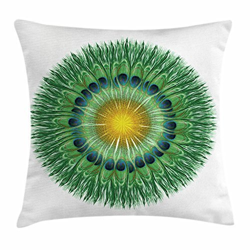FunnyLife Peacock Throw Pillow Cushion Cover, Circular Peacock Feathers Design with Bird Abstract Exotic Tail Nature, Decorative Square Accent Pillow Case Fern Green Yellow Blue ()