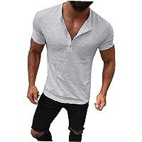 EElabper Camisetas Henley de algodón para hombre a la moda casual con solapa frontal