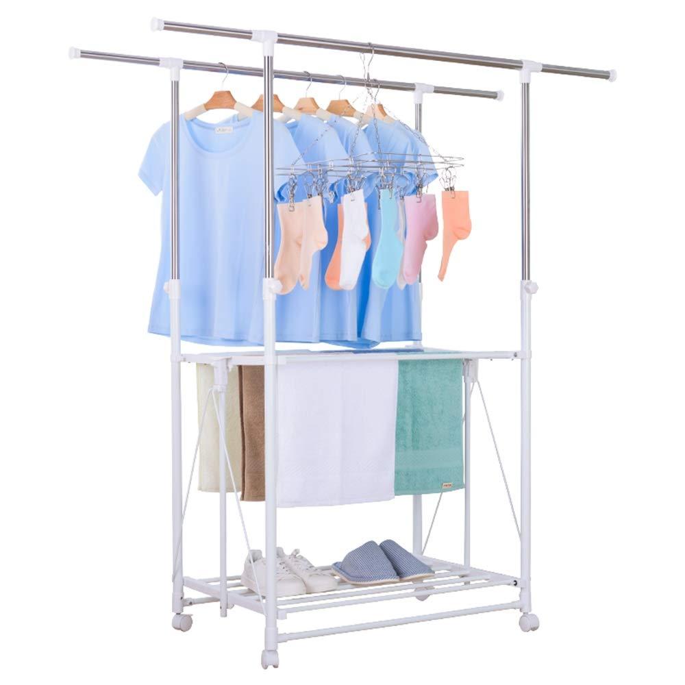 Xyanzi Clothesline 衣類乾燥ラック、ポータブル衣類ラック屋内、伸縮式乾燥ラックシンプル家庭用品ダブルロッドヘビーデューティローリング服ラック B07MPZKKK9
