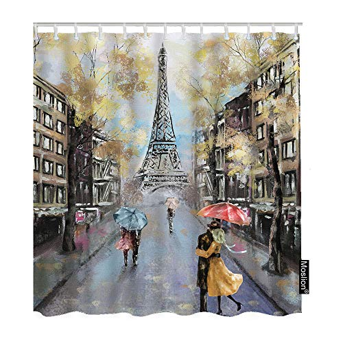 Moslion Paris Shower Curtains Oil Painting Autumn Lovers Kiss on Rainy France Street Eiffel Tower Bathroom Shower Curtain Set Home Decorative Waterproof Polyester Fabric Hooks 60x72 Inch ()
