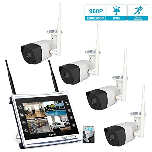 4 Cameras 960P HD LCD Wireless Home Security Surveillance Video System 1.3MP 10'' Monitor NVR, Motion Detection, Outdoor Waterproof WiFi Bridging Night Vision IP Camera, 1TB HDD (Router Built-in) by GBGS