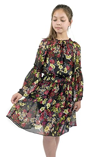 Smukke, Big Girls Beautiful Printed Chiffon Long Sleeves Dress (with Options), 7-16 (Black Floral, 12)]()