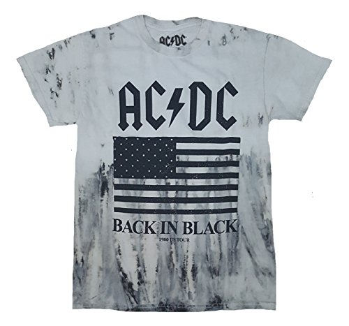 Fashion AC/DC Back in Black 1980 US Tour Gray Graphic T-Shirt - - S Fashion 1980