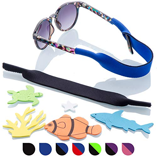Baby Glasses and Sunglasses Strap 2pk | Active Kids with Bonus Stickers (Blue + Black)