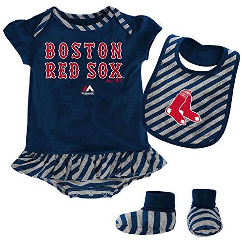 Boston Red Sox Newborn Baby Girls 3 Piece Layette Set, 6-9 Months