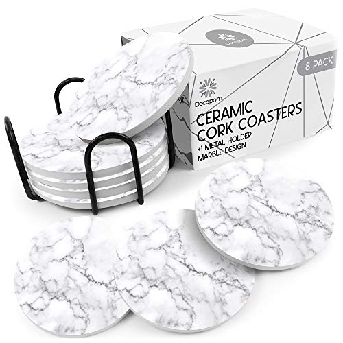 Coasters for Drinks Ceramic Cork Set - 8 Pcs Absorbent Gray Wave Marble Design Coasters with Metal Holder for Cups Mugs Coffee Wine Wooden Glass Tabletop Protection Bar Table House Warming Gift Home