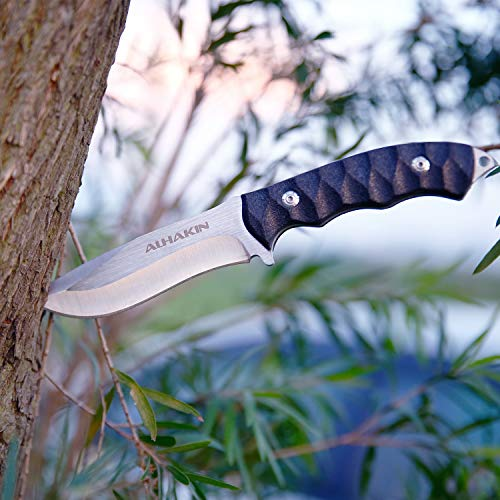 Rescue Blade Fixed (ALHAKIN Fixed Blade Knife with Black Textured Handle, Steel Blade, Glass Breaker and Nylon Sheath, Perfect for Outdoor and Daily Use)