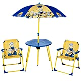 Despicable Me Minion Parasol Table And Chairs Outdoor Rush Garden Patio Children's Furniture Set - Great toy for toddlers and young children to keep them Entertained.