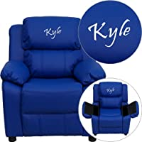 Personalized Deluxe Kids Recliner Upholstery: Blue Vinyl