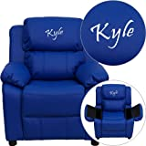 Personalized Deluxe Kid's Recliner Upholstery: Blue Microfiber