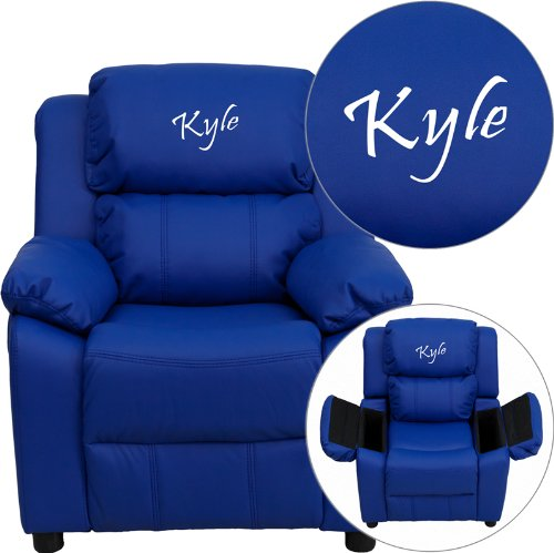 Personalized Deluxe Kid's Recliner Upholstery: Blue Vinyl
