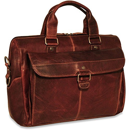 Jack Georges Voyager Collection Top Zip Briefcase W/Front Flap in Brown (Jack Bag Georges Leather)