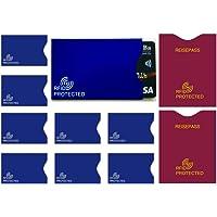 MONVENDO | RFID NFC Schutzhüllen | Flysecure - 10-teilig Blau Bordeauxrot