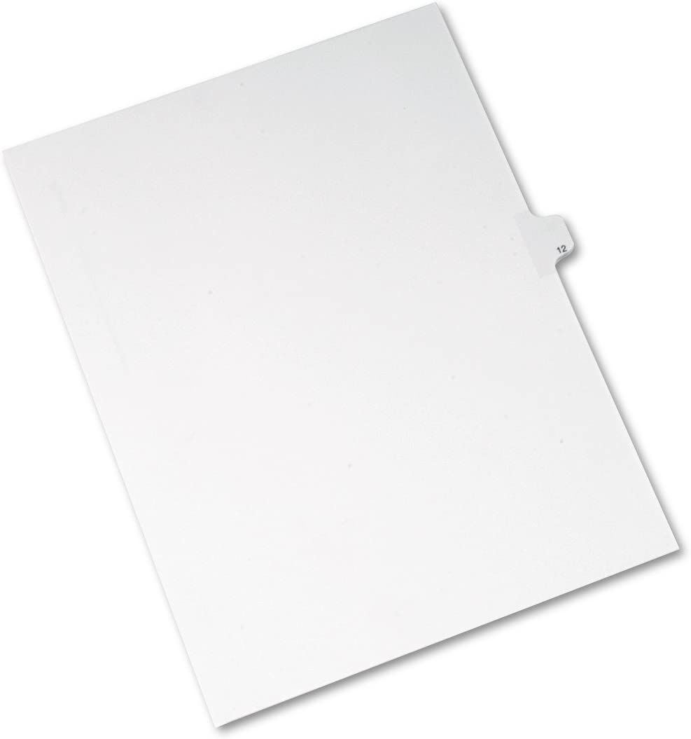 Pack of 25 Allstate Style 12 8.5 x 11 inches 82210 Avery Individual Legal Exhibit Dividers Side Tab