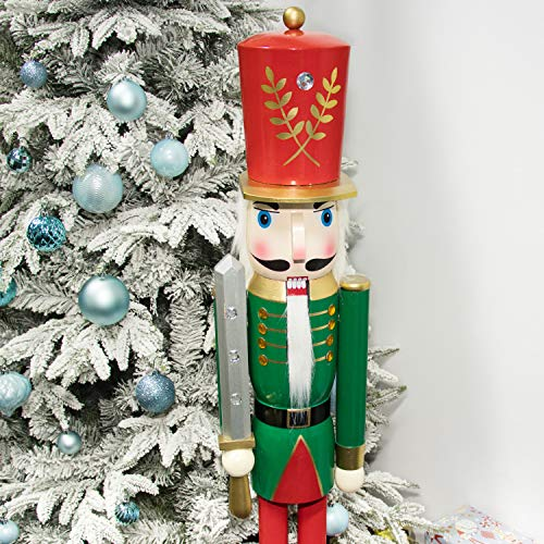 KI Store Large Christmas Nutcracker 4-Foot, Soldier Wooden Nutcracker Figurine Christmas Decorations for Staircase Front Door