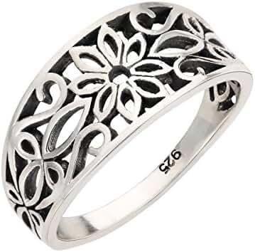 Antique Filigree Design Floral Ring Sterling Silver 925