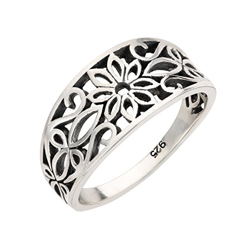 (CloseoutWarehouse Sterling Silver Antique Filigree Design Floral Ring Size 7)