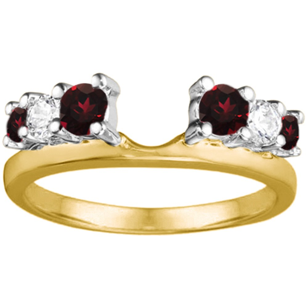 .5 Diamond and Ruby Ring Wrap Enhancer in TwoTone Silver (G-H,I2)(0.5Ct) Size 3 To 15 in 1/4 Size Interval